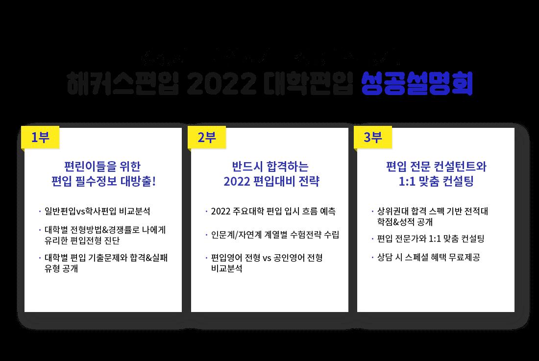 해커스편입 2022 대학편입 성공설명회
